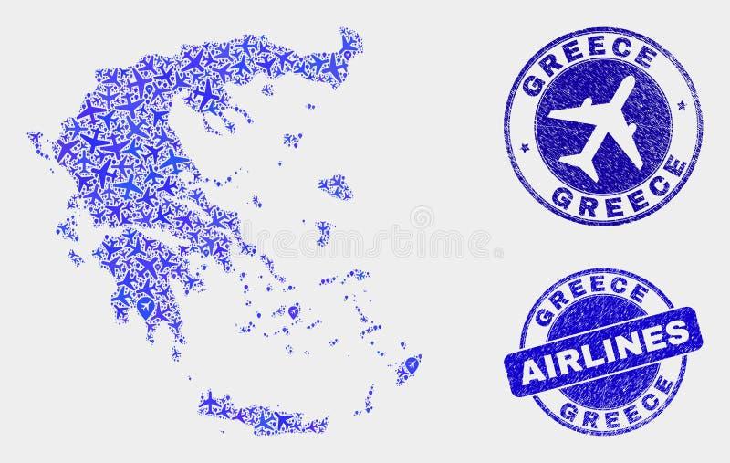 Carte de la Grèce de vecteur de collage d'avion et joints grunges illustration libre de droits