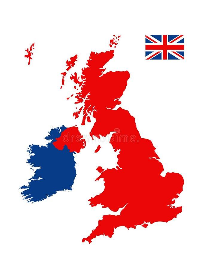 Carte de la Grande-Bretagne et drapeau - grande île dans l'océan Atlantique nord de la côte du nord-ouest de l'Europe continental illustration de vecteur