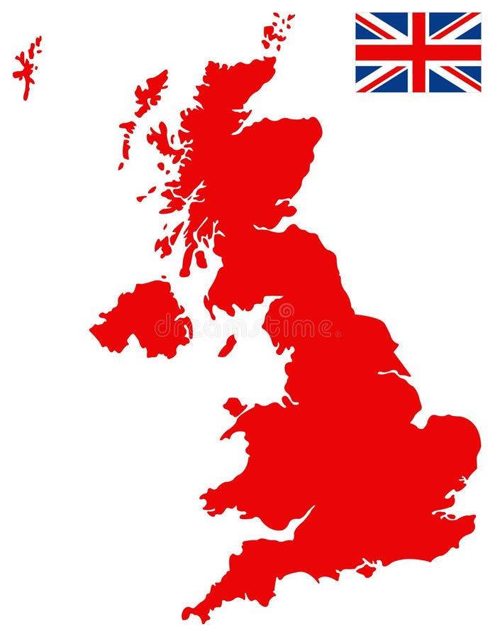 Carte de la Grande-Bretagne et drapeau - grande île dans l'océan Atlantique nord de la côte du nord-ouest de l'Europe continental illustration libre de droits
