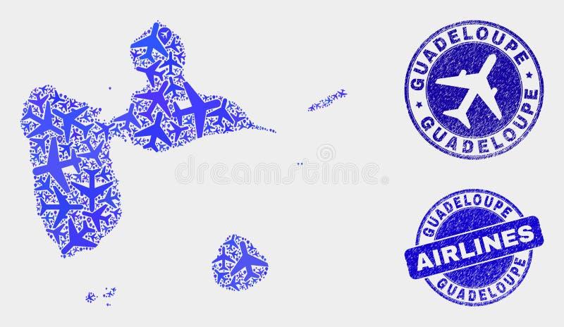 Carte de la Guadeloupe de vecteur de composition en avions et timbres grunges illustration stock