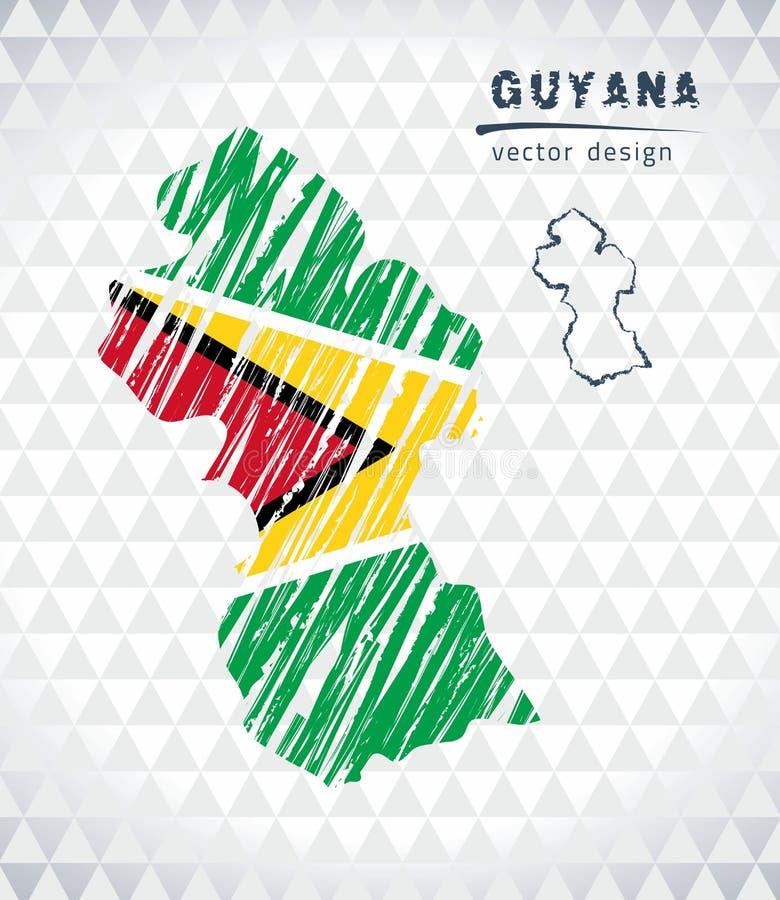 Carte de la Guyane avec la carte tirée par la main de stylo de croquis à l'intérieur Illustration de vecteur illustration stock