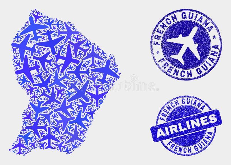 Carte de la Guyane française française de vecteur de mosaïque de ligne aérienne et joints grunges illustration stock