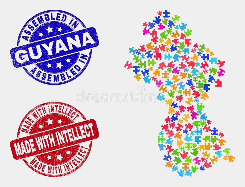 Carte de la Guyane de module et réuni grunge et fait avec des joints de timbre d'intellect illustration stock