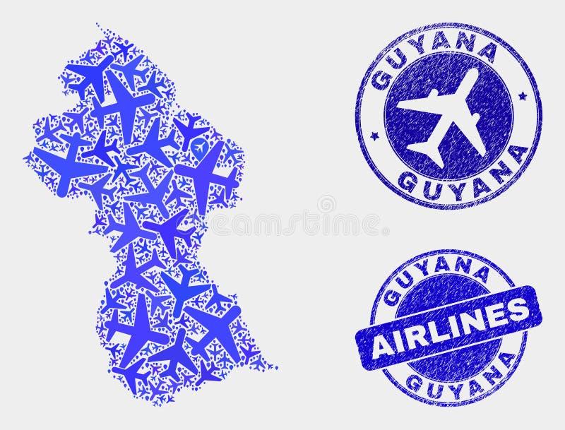 Carte de la Guyane de vecteur de collage d'avion d'air et joints grunges illustration stock