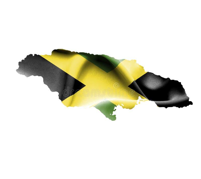 Carte de la Jamaïque avec le drapeau de ondulation d'isolement sur le blanc illustration de vecteur