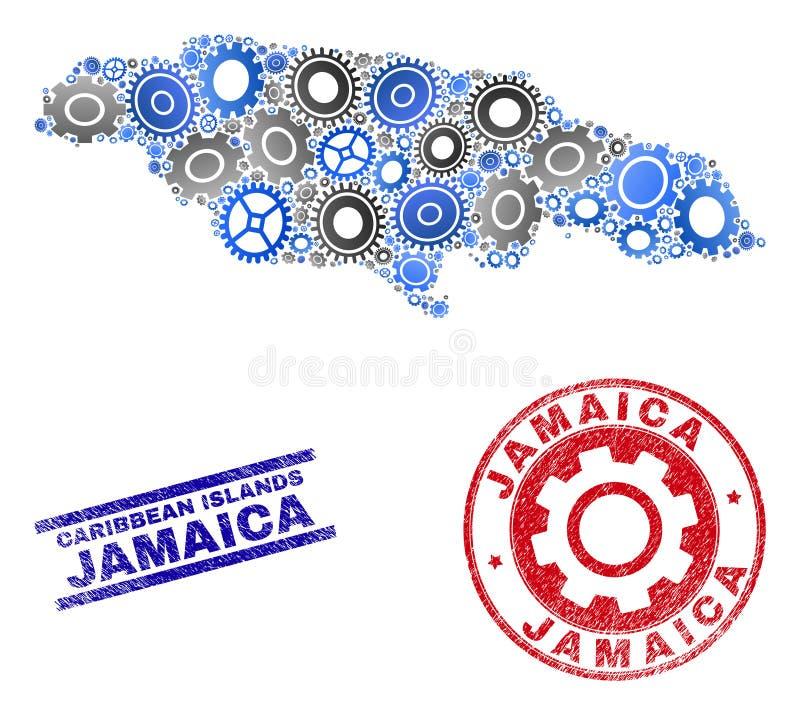 Carte de la Jamaïque de vecteur de mosaïque de vitesse et joints grunges illustration libre de droits