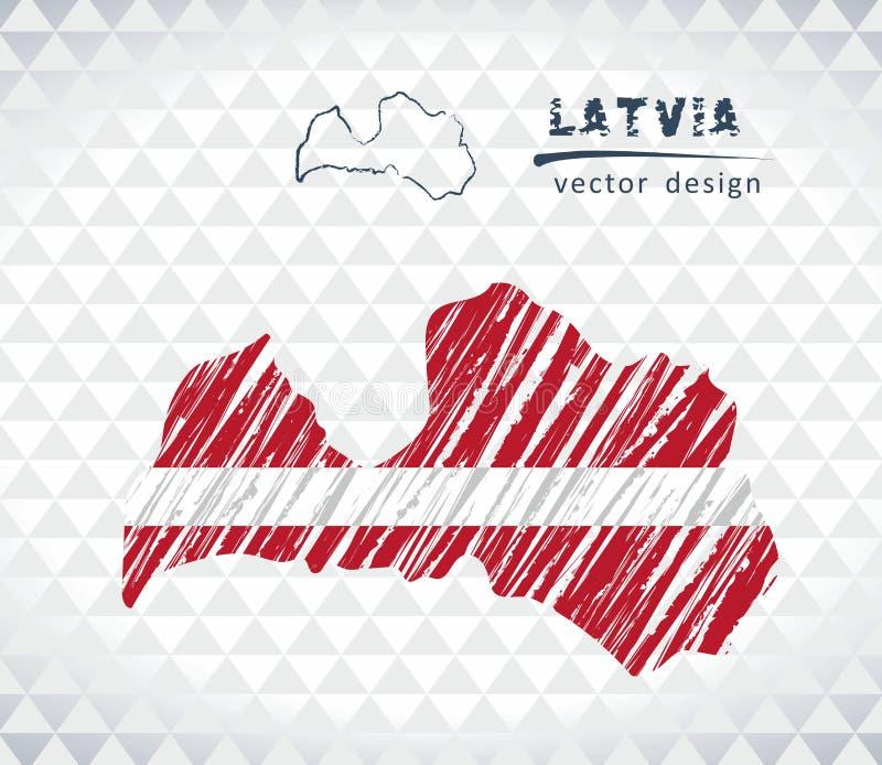 Carte de la Lettonie avec la carte de croquis tirée par la main à l'intérieur Illustration de vecteur illustration stock