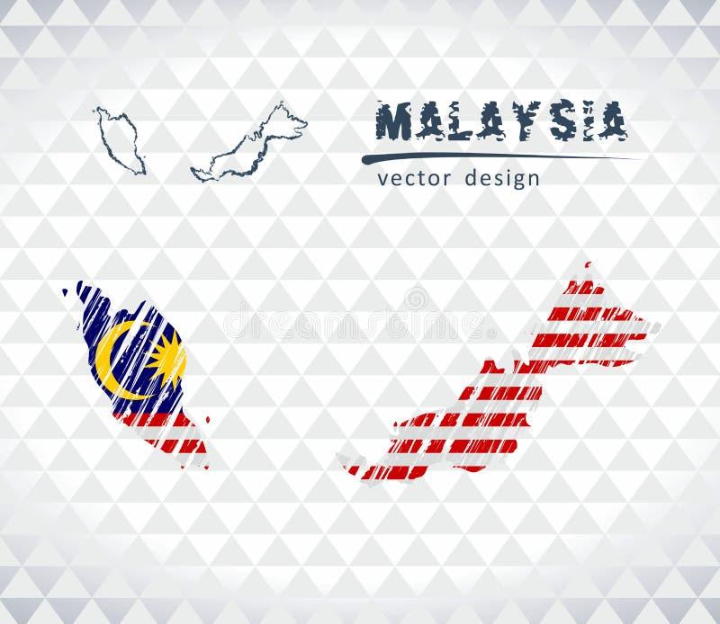 Carte de la Malaisie avec la carte tirée par la main de stylo de croquis à l'intérieur Illustration de vecteur illustration de vecteur
