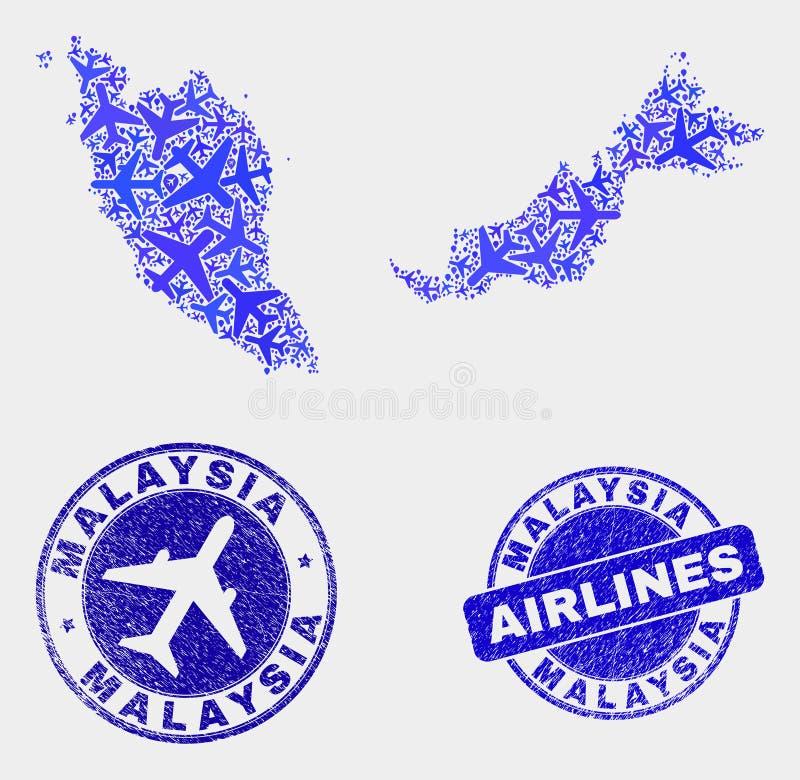 Carte de la Malaisie de vecteur de mosaïque de ligne aérienne et joints grunges illustration libre de droits