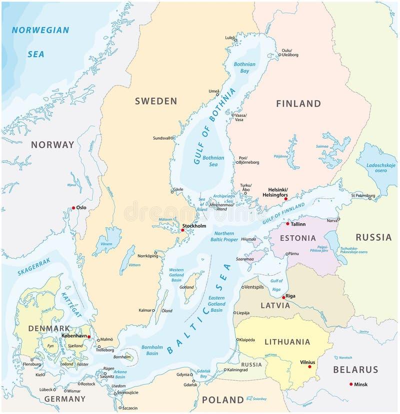 Carte de la mer Baltique la mer marginale de l'océan atlantique illustration libre de droits