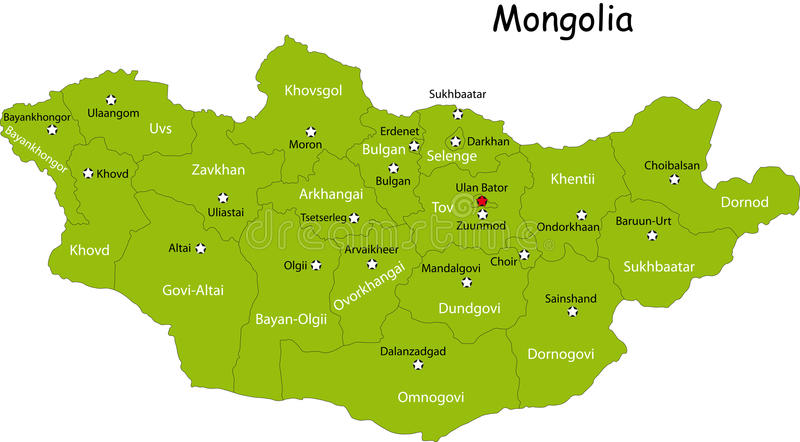 Carte de la Mongolie illustration stock