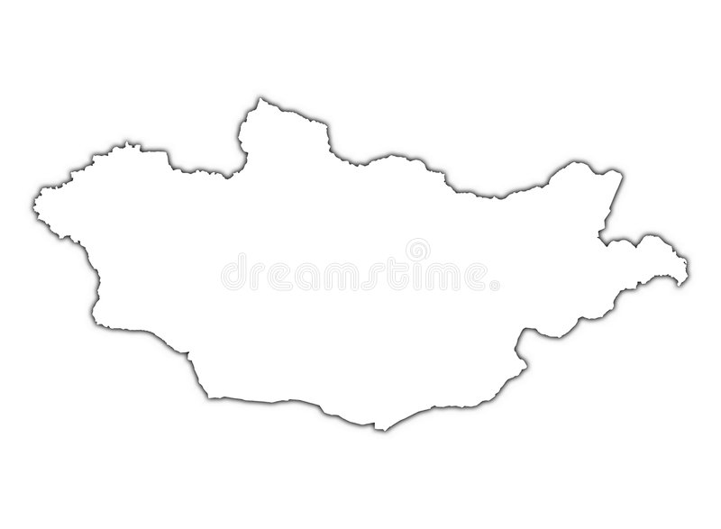 Carte de la Mongolie avec l'ombre illustration de vecteur
