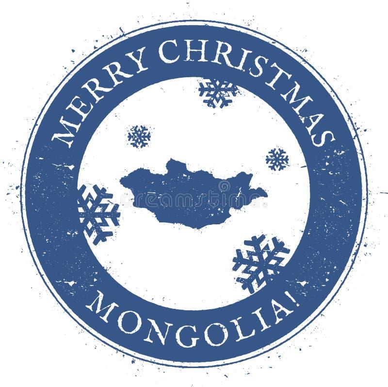 Carte de la Mongolie Joyeux Noël Mongolie de vintage illustration libre de droits