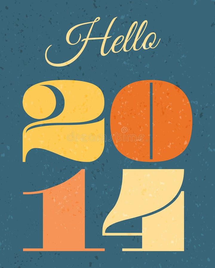 Carte de la nouvelle année 2014 illustration libre de droits