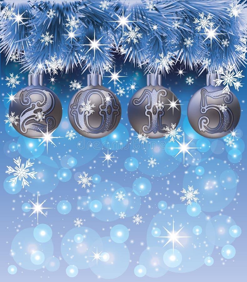 Carte de la nouvelle année 2015 avec les boules et la neige de Noël illustration libre de droits