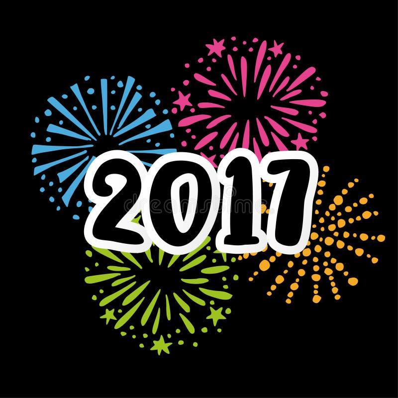 Carte de la nouvelle année 2017greeting, invitation avec des nombres manuscrits et griffonnage tiré par la main illustration de vecteur