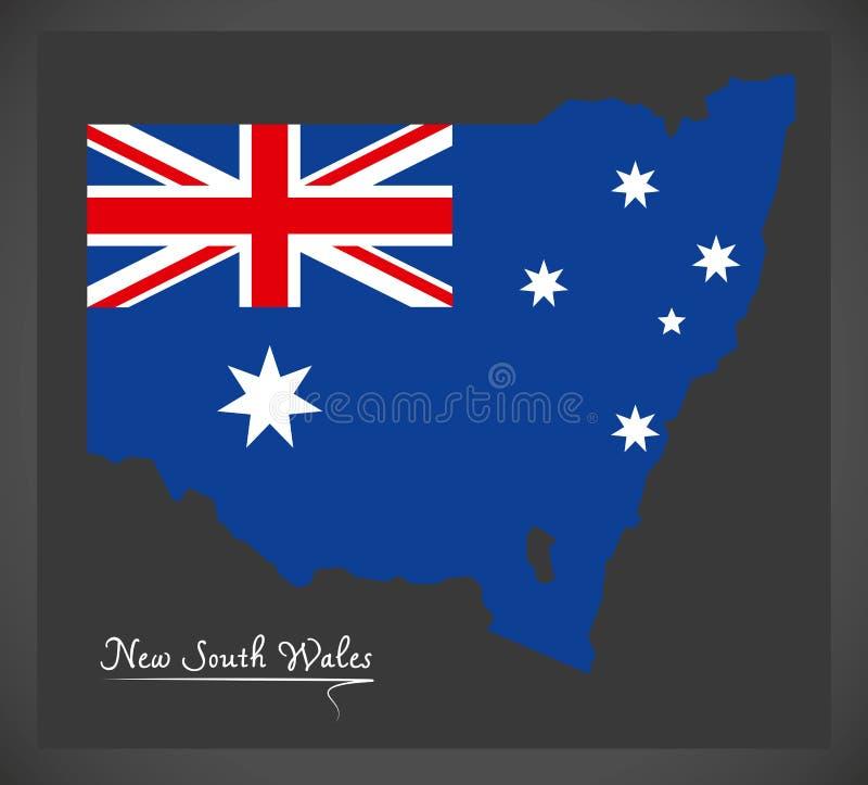 Carte de la Nouvelle-Galles du Sud avec l'illustration australienne de drapeau national illustration stock