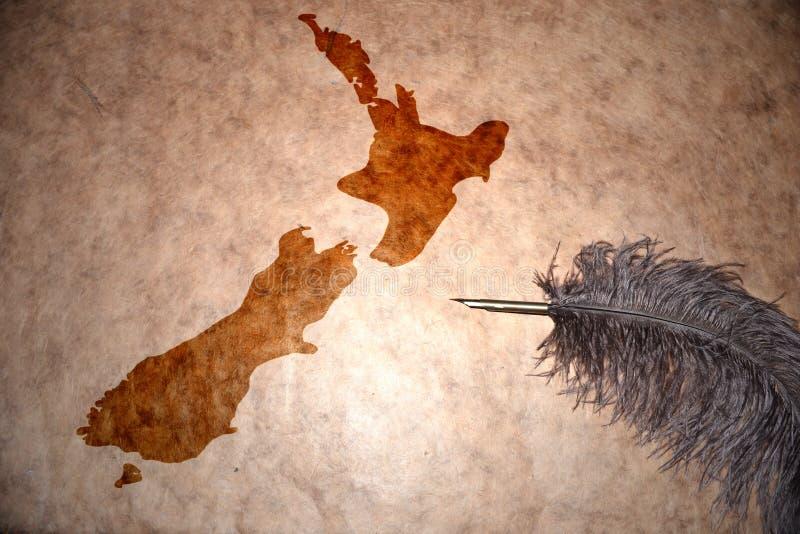 Carte de la Nouvelle Zélande de vintage photo stock