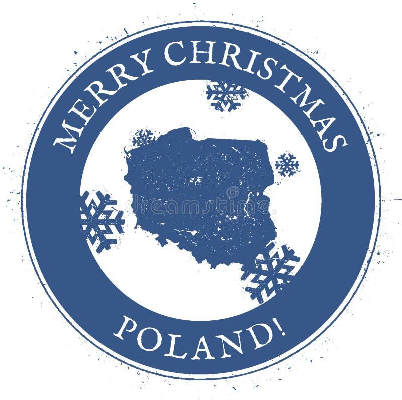 Carte de la Pologne Timbre de la Pologne de Joyeux Noël de vintage illustration stock