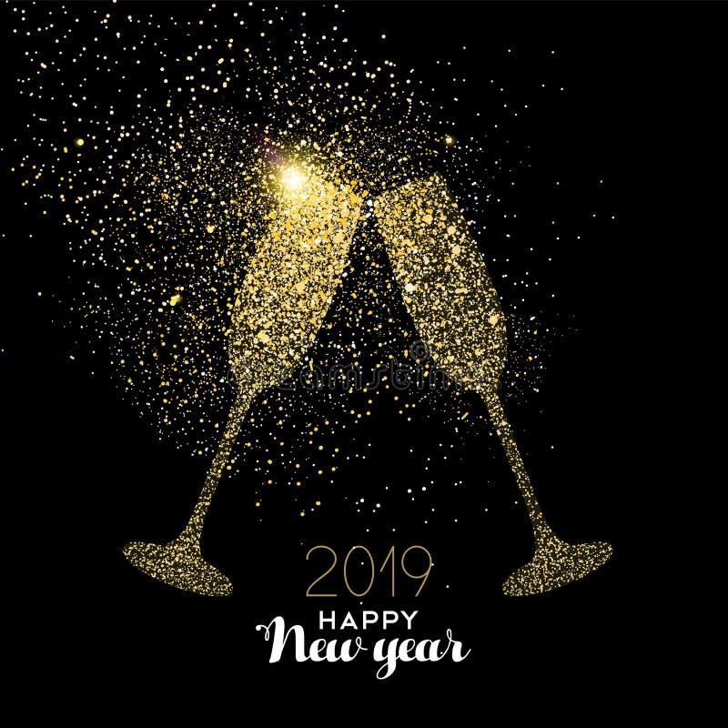 Carte de la poussière de scintillement d'or de boissons de partie de la nouvelle année 2019 illustration stock