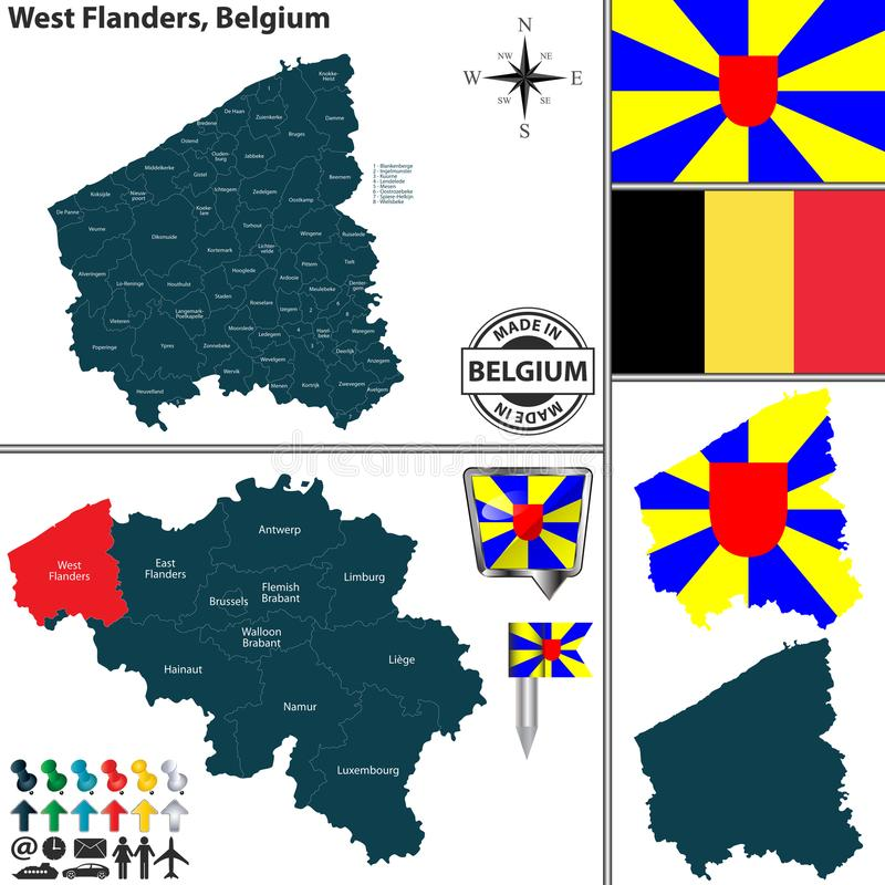 Carte de la Province de Flandre-Occidentale, Belgique illustration stock