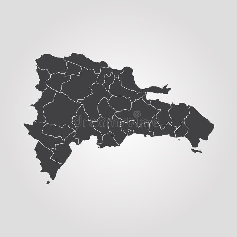 Carte de la république dominicaine illustration de vecteur