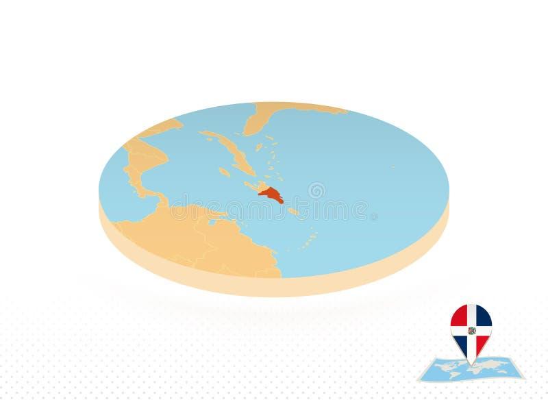 Carte de la République Dominicaine conçue dans un style isométrique, carte en cercle orange illustration stock