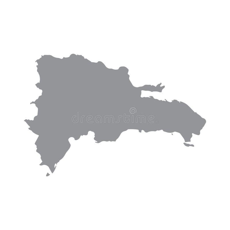 Carte de la République Dominicaine dans le gris sur un fond blanc illustration stock