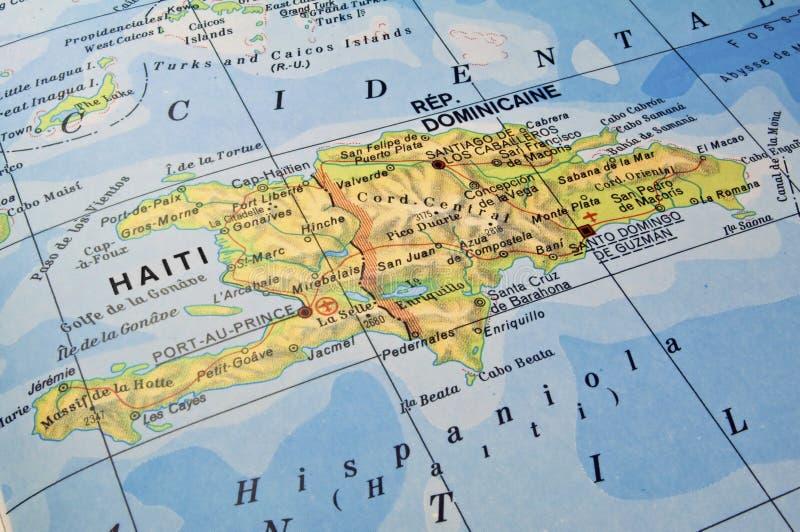 Carte de la république dominicaine, Haïti. photographie stock libre de droits