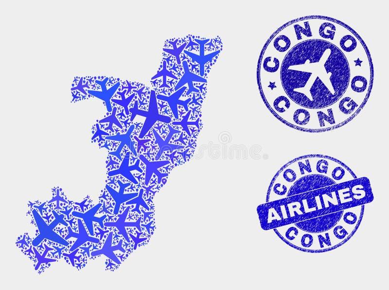 Carte de la République du Congo de vecteur de mosaïque de ligne aérienne et timbres grunges illustration de vecteur