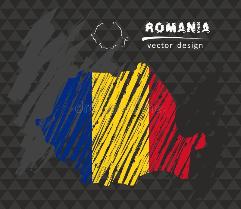Carte de la Roumanie avec le drapeau à l'intérieur sur le tableau noir Illustration de vecteur de croquis de craie illustration stock
