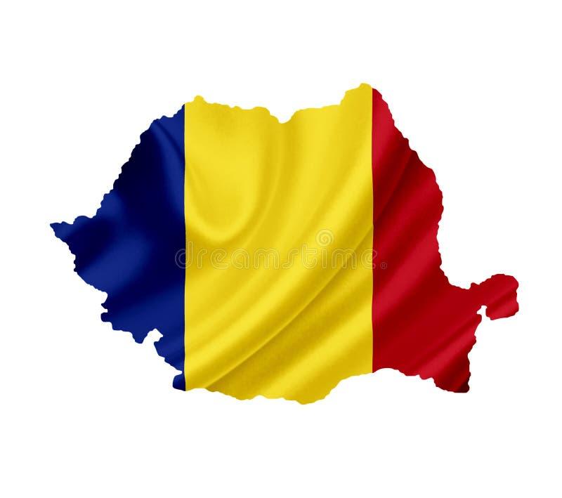 Carte de la Roumanie avec le drapeau de ondulation d'isolement sur le blanc photos libres de droits