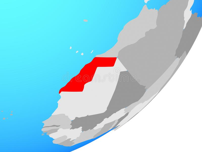 Carte de la Sahara occidental sur le globe illustration stock