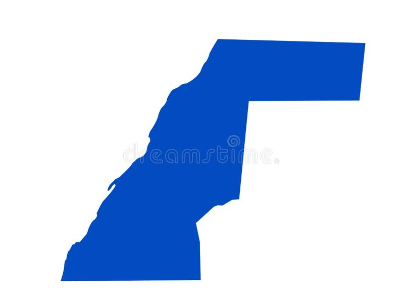 Carte de la Sahara occidental - territoire contesté dans la région du Maghreb de l'Afrique du Nord illustration libre de droits