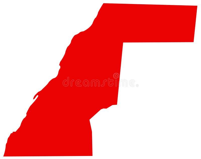 Carte de la Sahara occidental - territoire contesté dans la région du Maghreb de l'Afrique du Nord illustration stock
