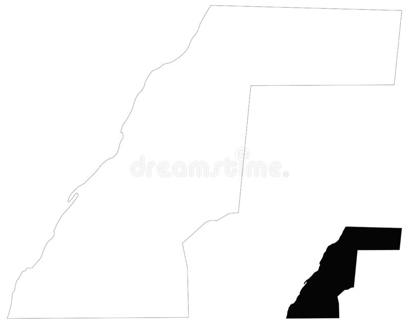Carte de la Sahara occidental - territoire contesté dans la région du Maghreb de l'Afrique du Nord illustration de vecteur