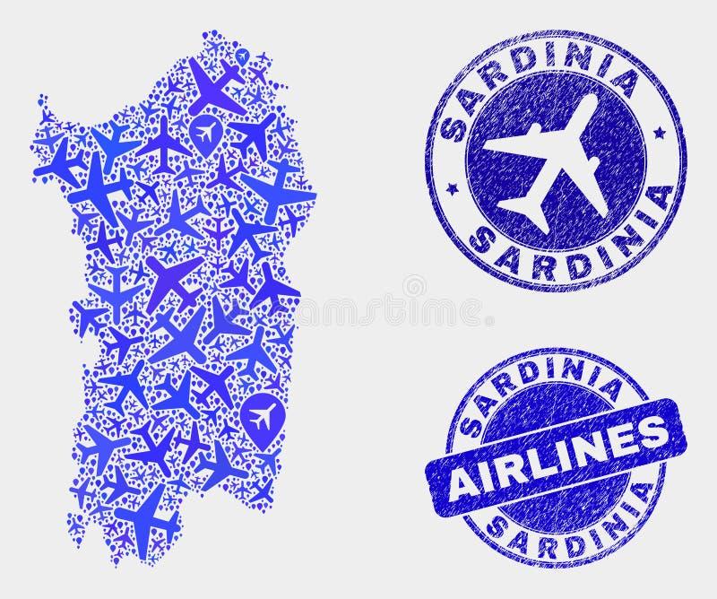 Carte de la Sardaigne de vecteur de mosaïque d'avions et joints grunges illustration stock