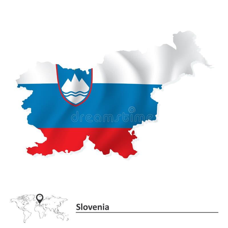 Carte de la Slovénie avec l'indicateur illustration stock