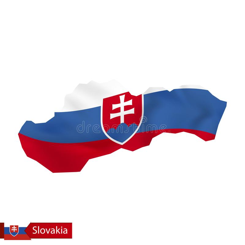 Carte de la Slovaquie avec le drapeau de ondulation de la Slovaquie illustration stock