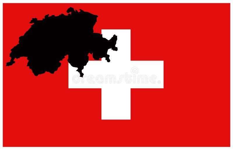 Carte de la Suisse, de la Confédération helvétique et drapeau - État souverain en Europe illustration de vecteur