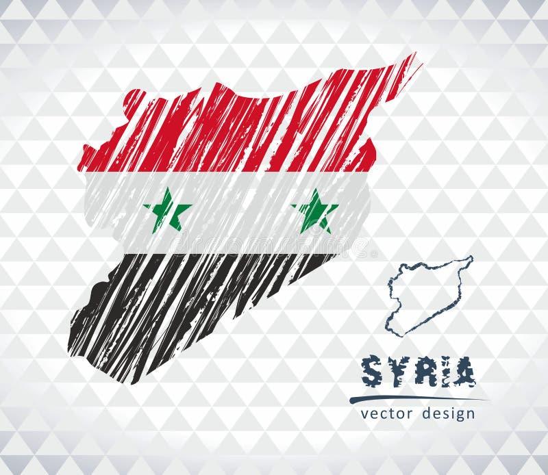 Carte de la Syrie avec la carte tirée par la main de stylo de croquis à l'intérieur Illustration de vecteur illustration libre de droits