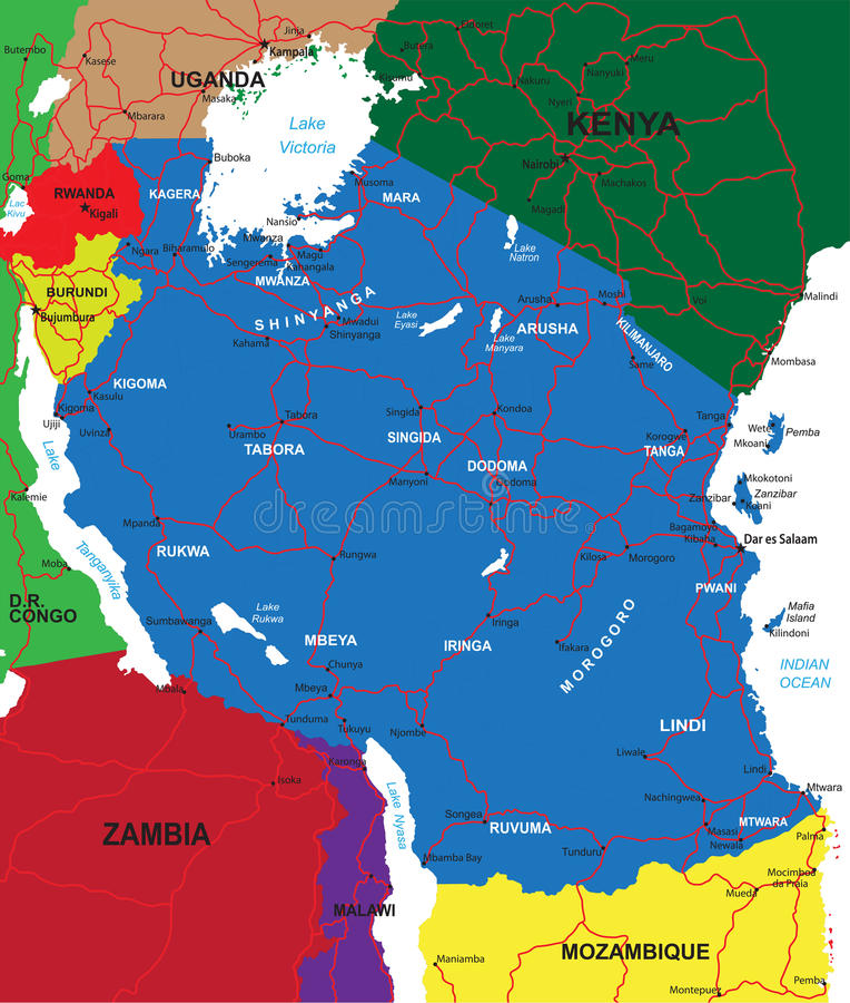 Carte de la Tanzanie illustration stock