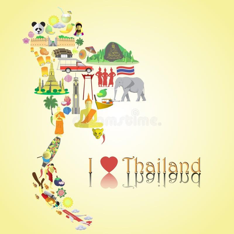 Carte de la Thaïlande Icônes et symboles thaïlandais de vecteur de couleur sous la forme de carte illustration stock