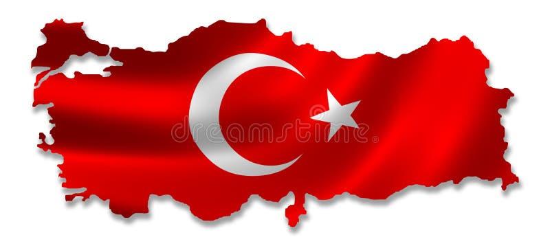 Carte de la Turquie avec l'indicateur illustration de vecteur