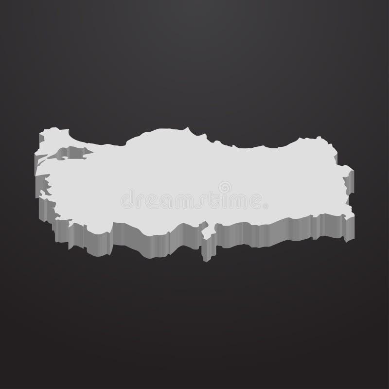 Carte de la Turquie dans le gris sur un fond noir 3d illustration stock