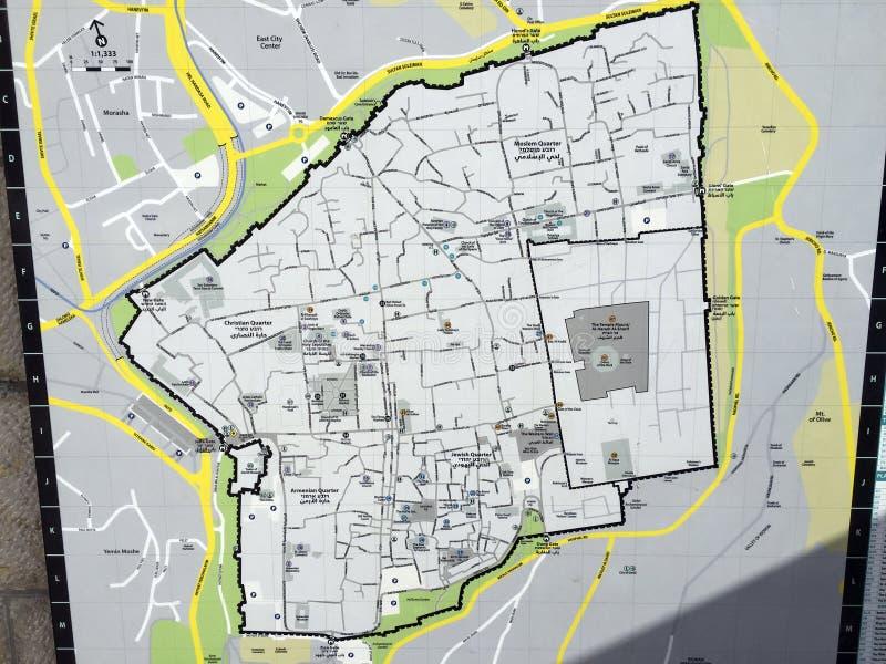 Carte de la vieille ville de Jérusalem avec tous les secteurs et quarts images stock