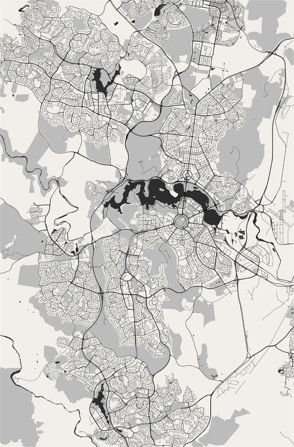 Carte de la ville de Canberra, territoire capitale australien, Australie illustration stock