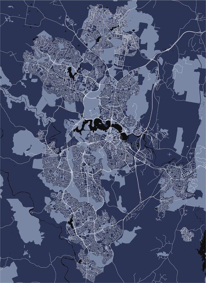 Carte de la ville de Canberra, territoire capitale australien, Australie illustration de vecteur