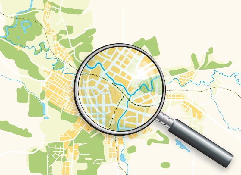 Carte de la ville et d'une loupe