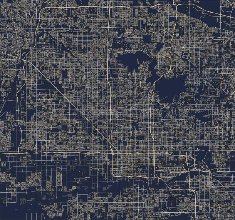 Carte de la ville de Phoenix, Arizona, Etats-Unis illustration libre de droits